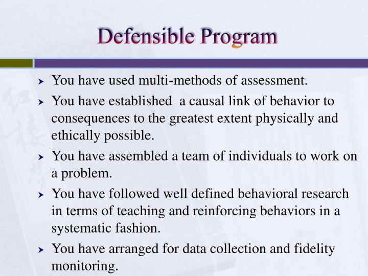 Defensible Program