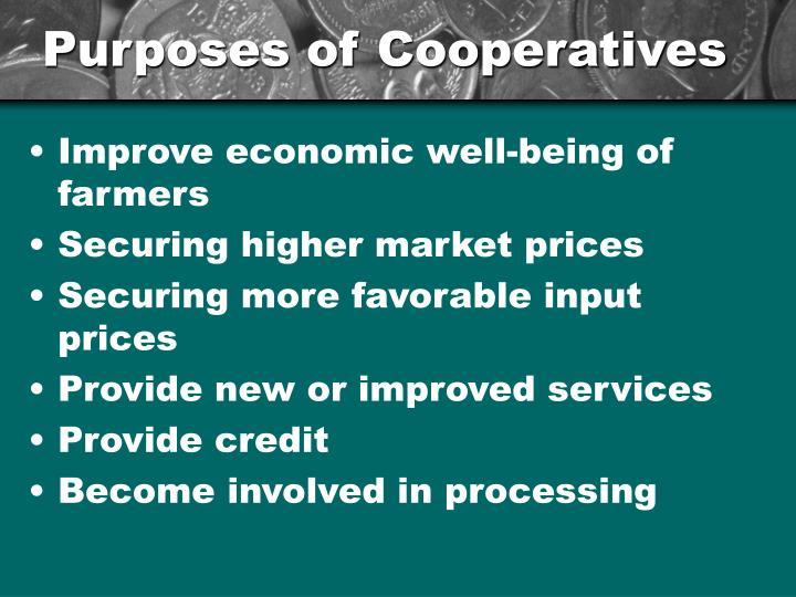 Purposes of Cooperatives