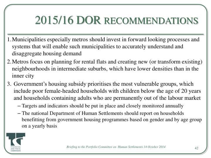 2015/16 DOR recommendations