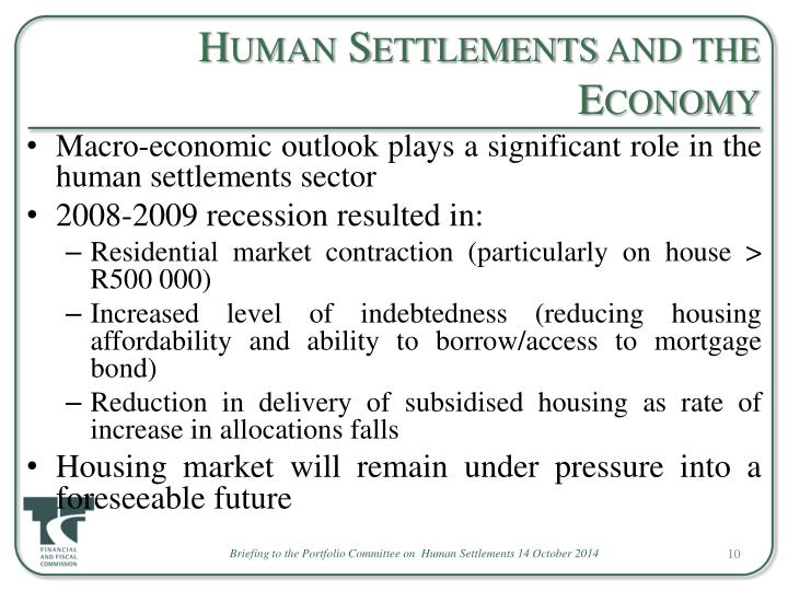 Human Settlements and the Economy