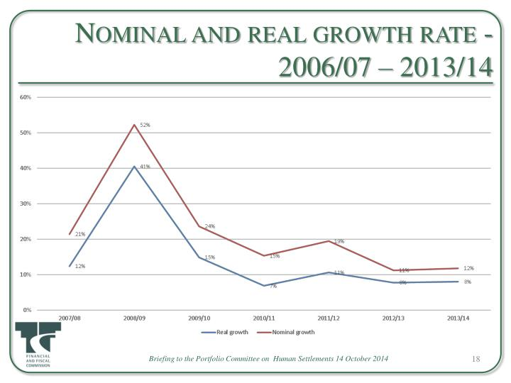 Nominal and real growth rate - 2006/07 – 2013/14