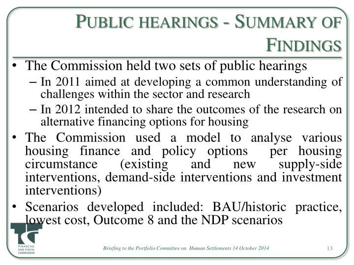 Public hearings - Summary of Findings