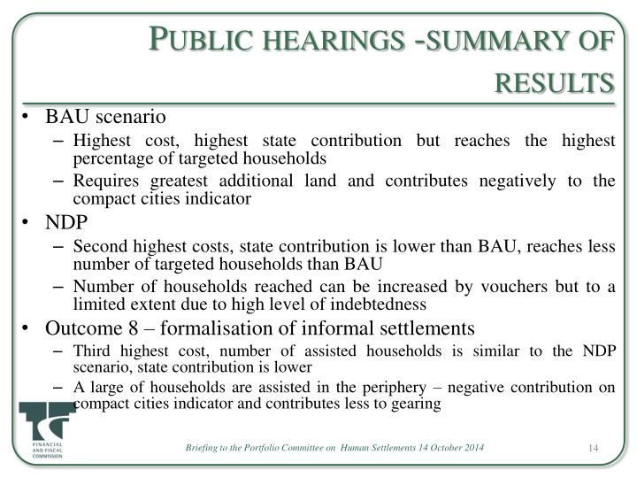 Public hearings -summary of results