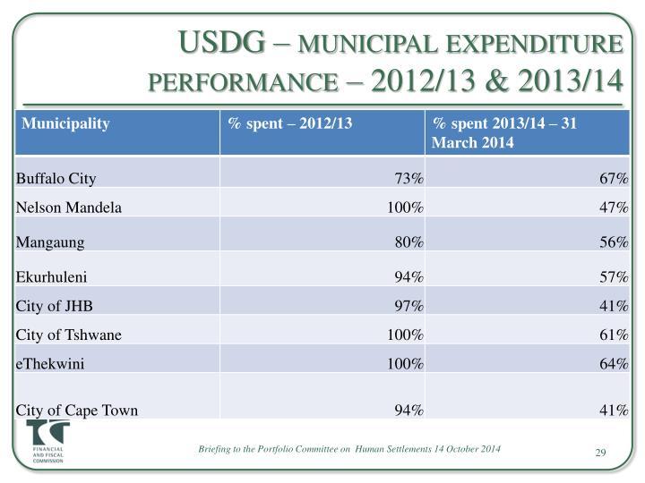 USDG – municipal expenditure performance – 2012/13 & 2013/14