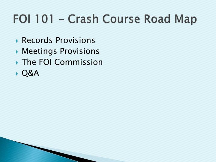 Foi 101 crash course road map
