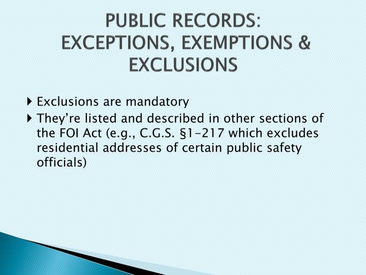 PUBLIC RECORDS: