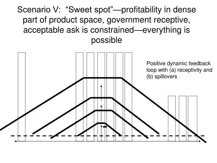 """Scenario V:  """"Sweet spot""""—profitability in dense part of product space, government receptive, acceptable ask is constrained—everything is possible"""