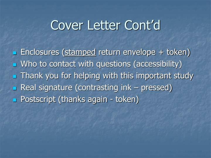 Cover Letter Cont'd