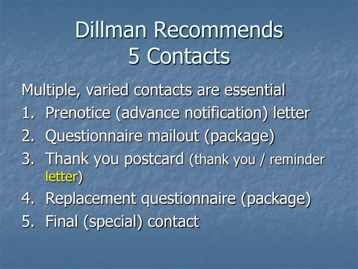 Dillman Recommends