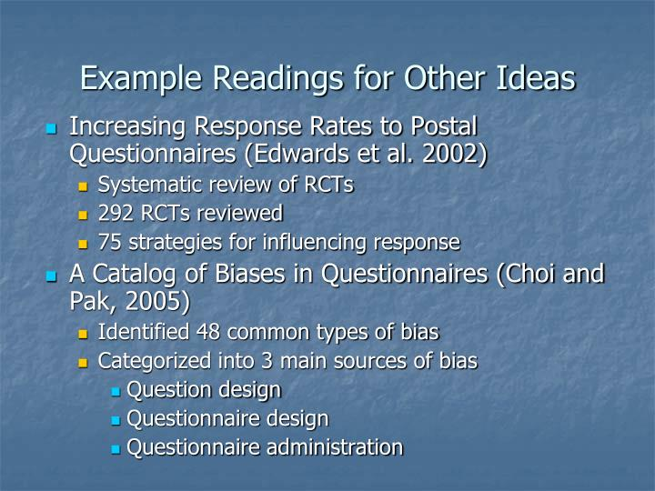 Example Readings for Other Ideas