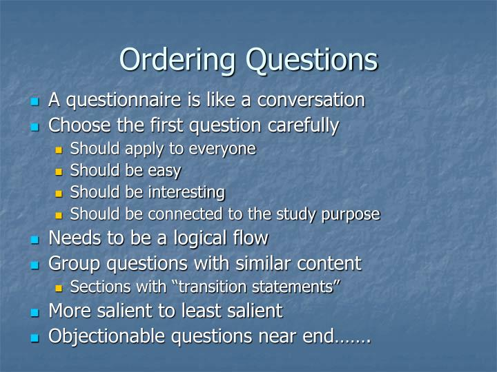 Ordering Questions