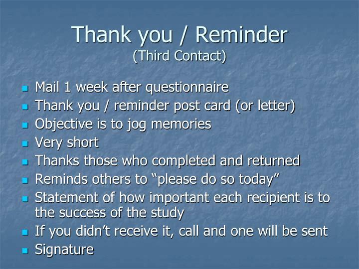 Thank you / Reminder