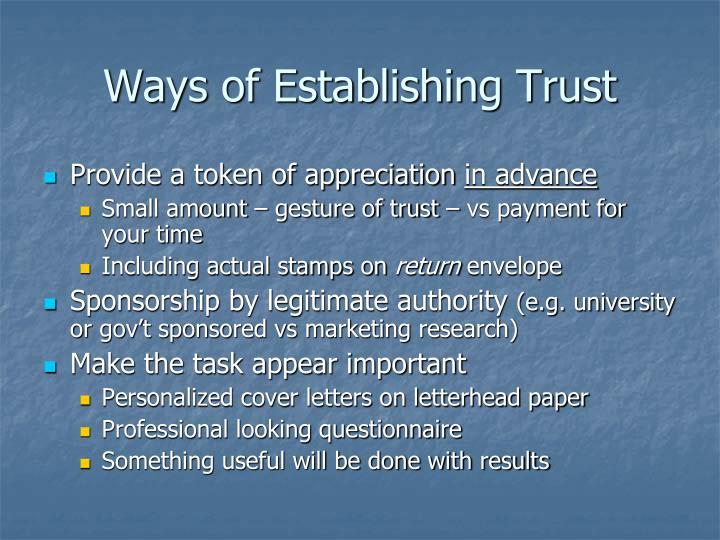 Ways of Establishing Trust