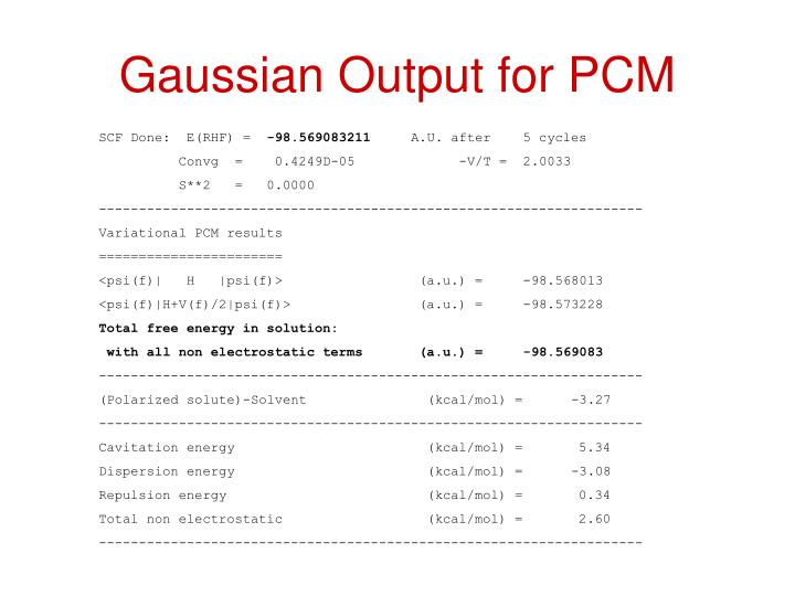 Gaussian Output for PCM