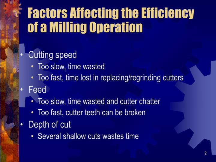 Factors affecting the efficiency of a milling operation