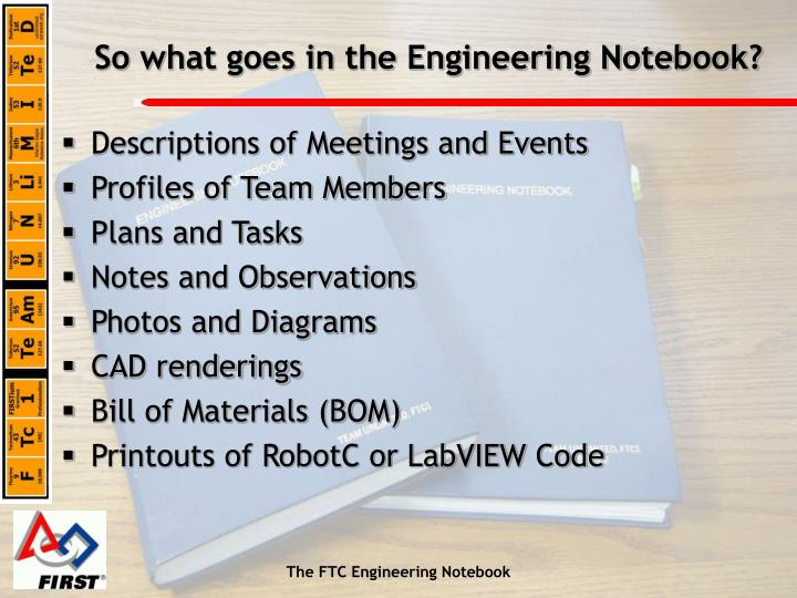 So What Goes In The Engineering Notebook