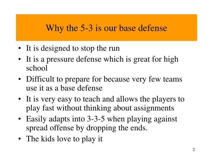Why the 5 3 is our base defense
