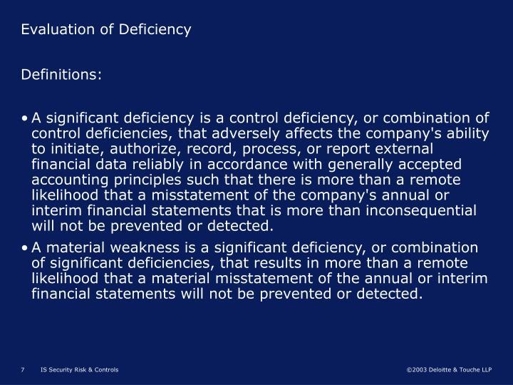 Evaluation of Deficiency