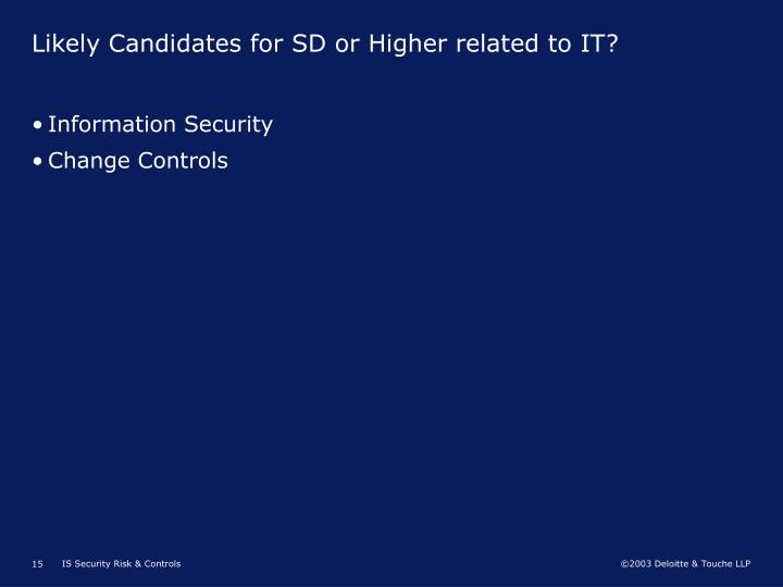 Likely Candidates for SD or Higher related to IT?