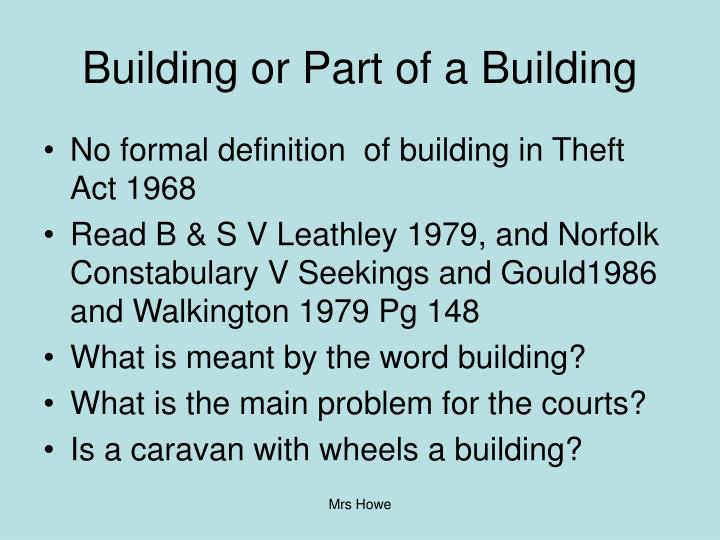 Building or Part of a Building