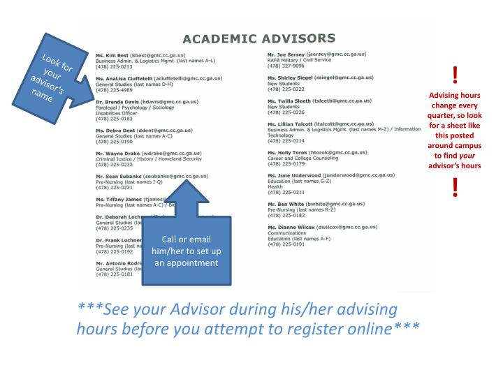 Look for your advisor's name