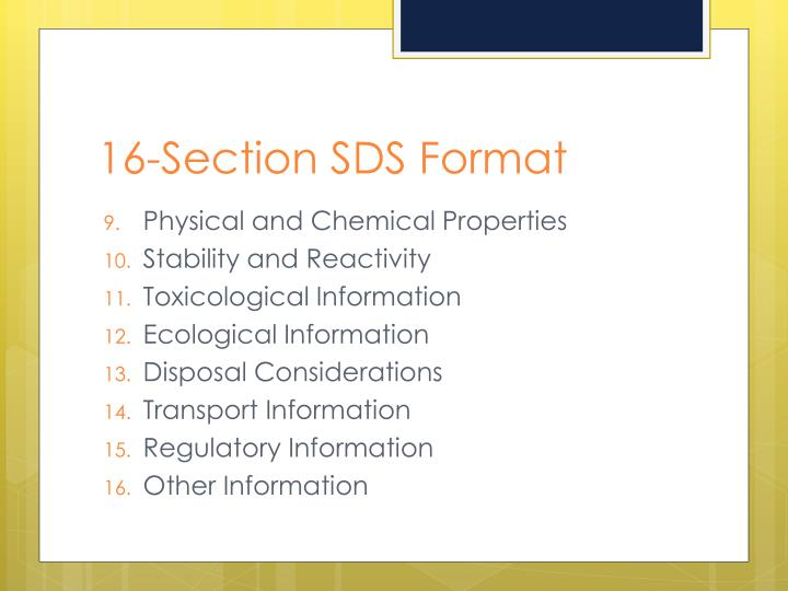 16-Section SDS Format