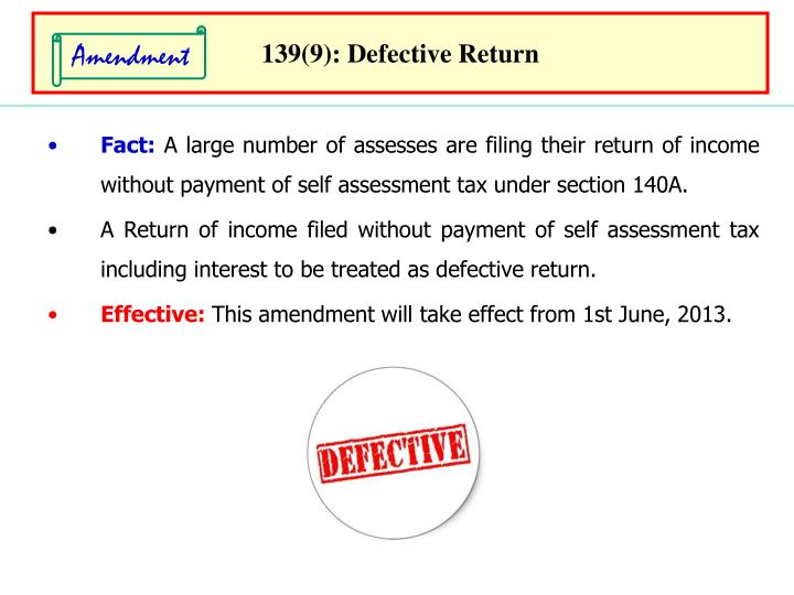 139(9): Defective Return