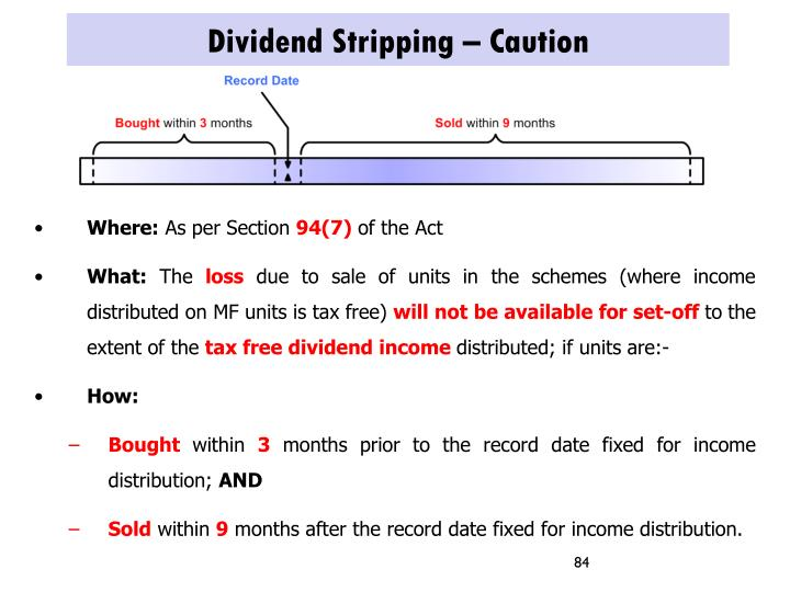 Dividend Stripping – Caution