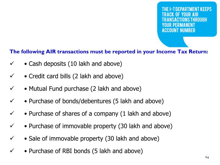 The following AIR transactions must be reported in your Income Tax Return: