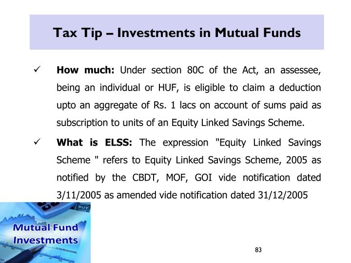 Tax Tip – Investments in Mutual Funds