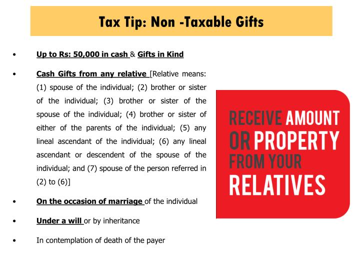 Tax Tip: Non -Taxable Gifts