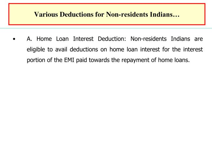 Various Deductions for Non-residents Indians…