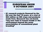 european union 9 october 2001