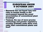 european union 9 october 20011