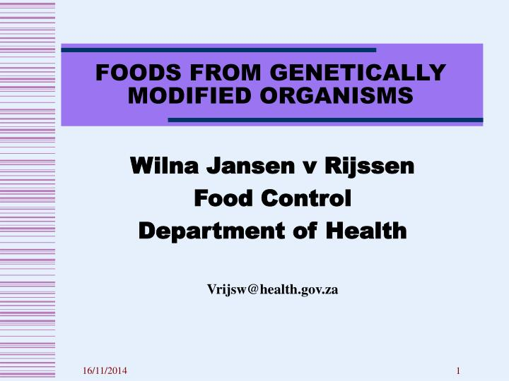 foods from genetically modified organisms n.