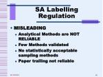 sa labelling regulation