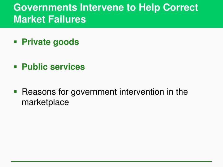 Governments Intervene to Help Correct Market Failures