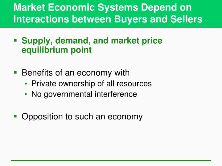 Market Economic Systems Depend on Interactions between Buyers and Sellers