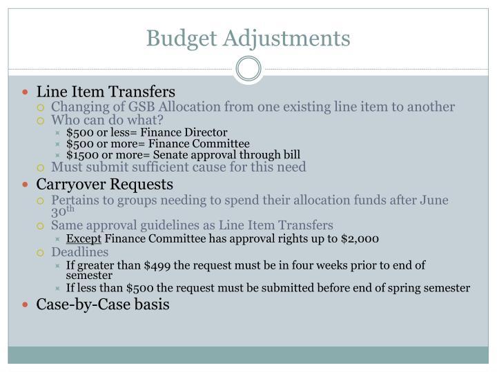 Budget Adjustments