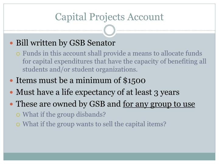Capital Projects Account
