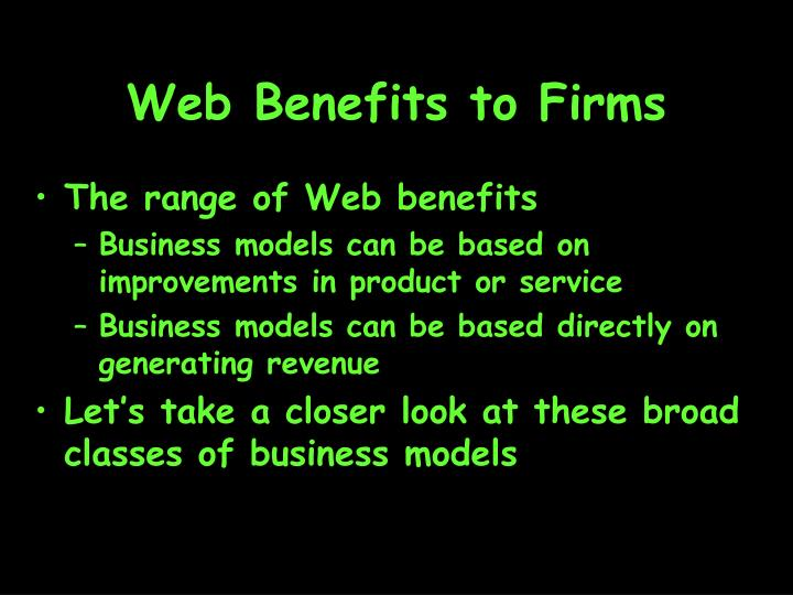 Web Benefits to Firms
