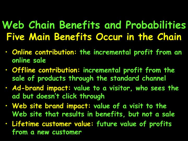 Web Chain Benefits and Probabilities