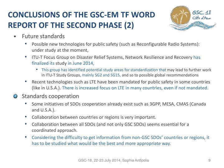 CONCLUSIONS OF THE GSC-EM TF WORD REPORT OF THE SECOND PHASE (2)