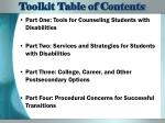 toolkit table of contents