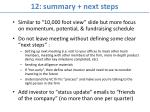 12 summary next steps