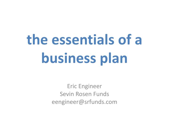 the essentials of a business plan n.