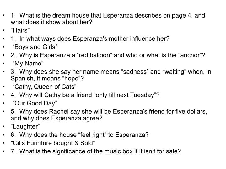 1.  What is the dream house that Esperanza describes on page 4, and what does it show about her?