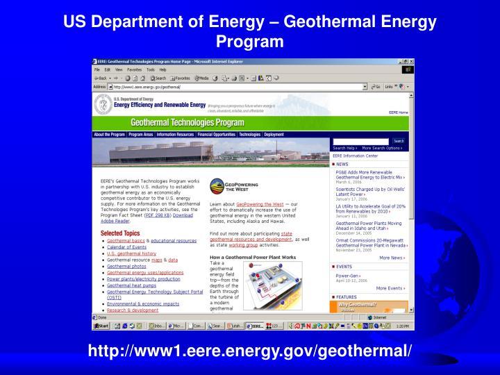 US Department of Energy – Geothermal Energy Program