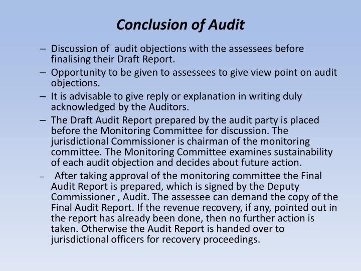 Conclusion of Audit