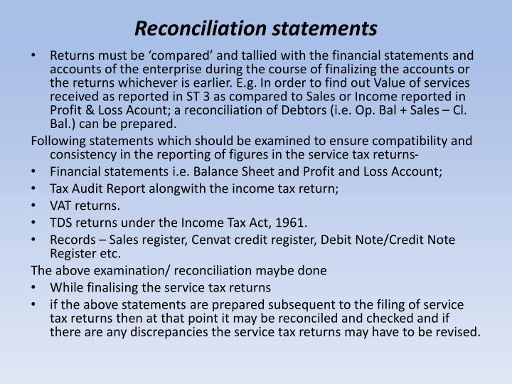 Reconciliation statements